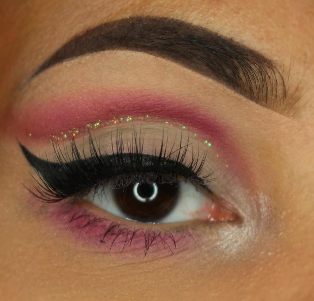 flamingo make-up roze glitter