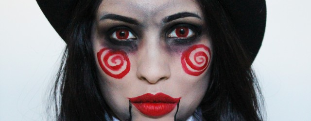 Saw doll puppet halloween makeup look