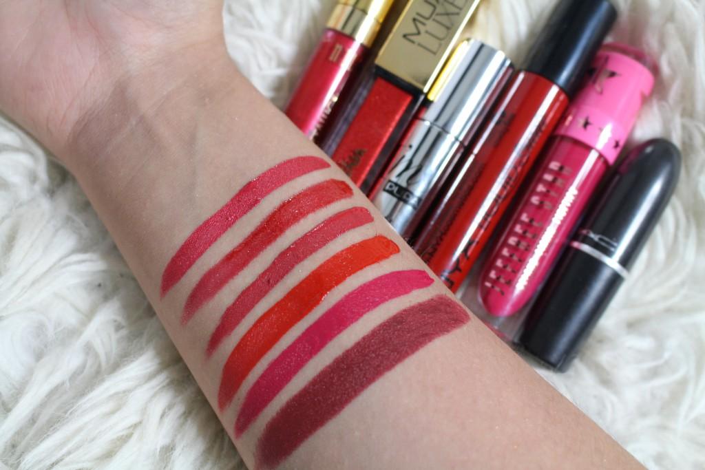 rode lippenstift swatches