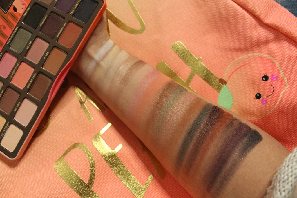 too faced sweet peach eyeshadow swatches