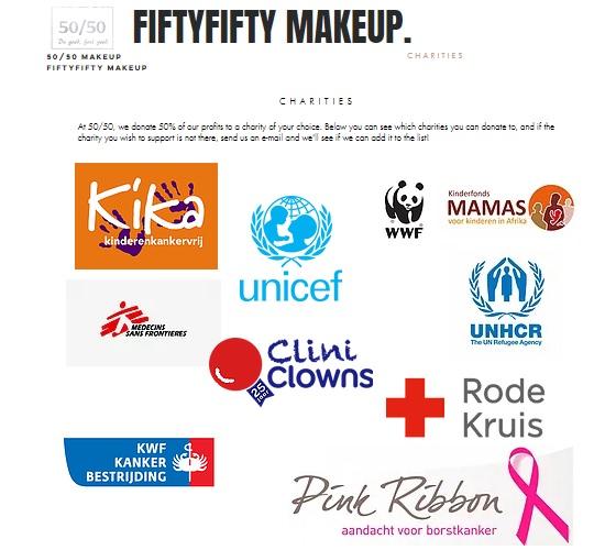 fiftyfifty makeup 50/50 goede doelen