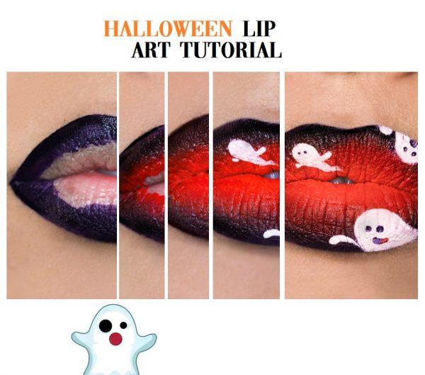 Halloween Lip Art Tutorial | Ombre lip art met spookjes