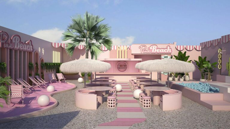 roze strand terras in amsterdam